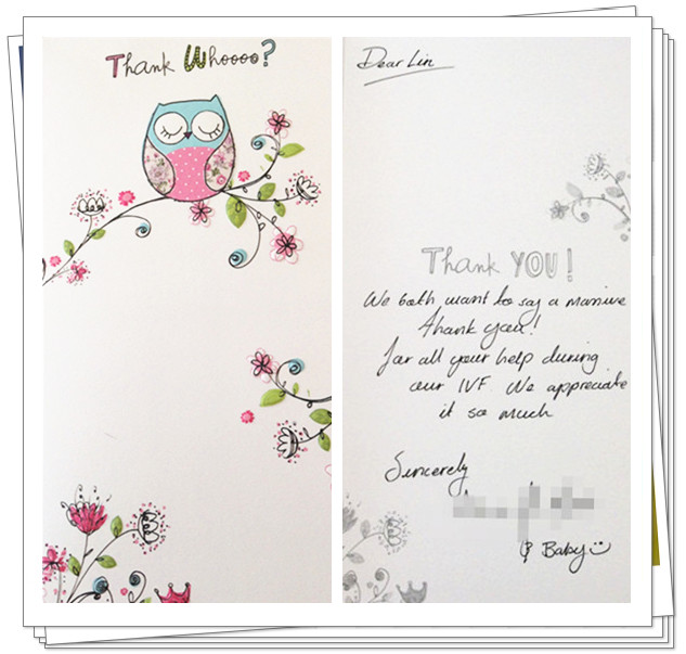 Acupuncture, IVF, Manchester, thank you card.
